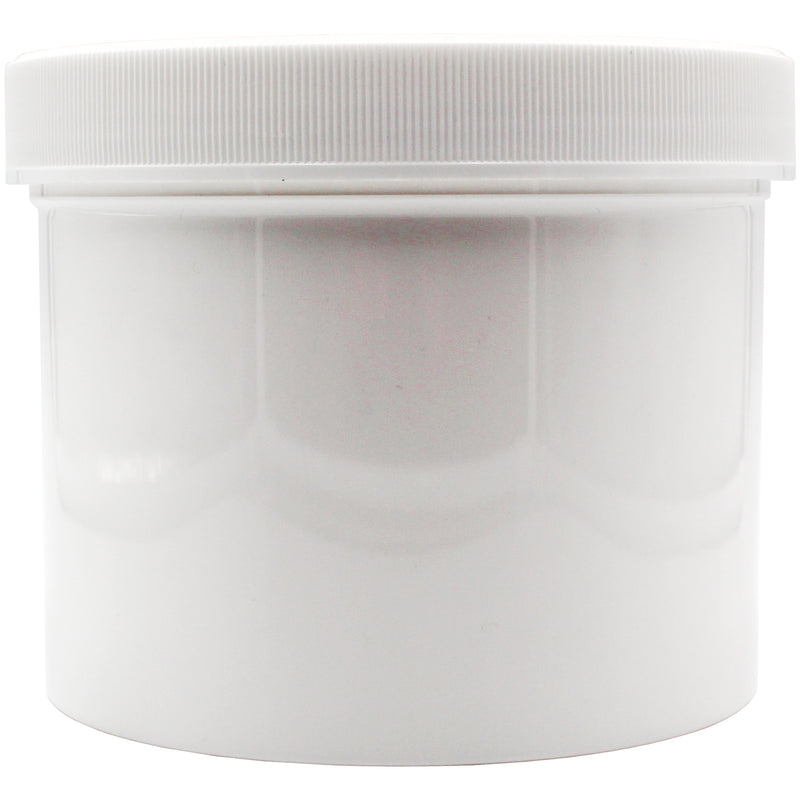Opaque White 2oz Wide Mouth Plastic Jars for Flower with White Lid