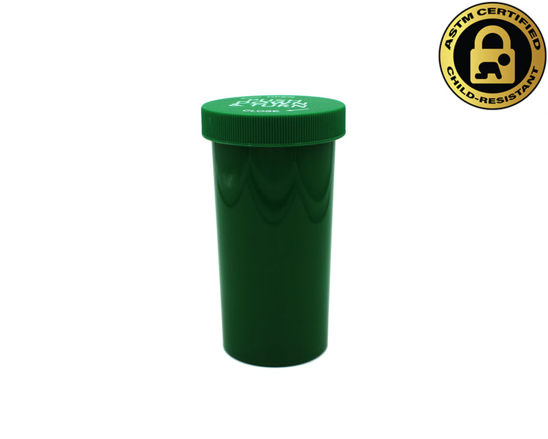 Opaque Green 40 Dram Push & Turn Vial with Child-Resistant Cap
