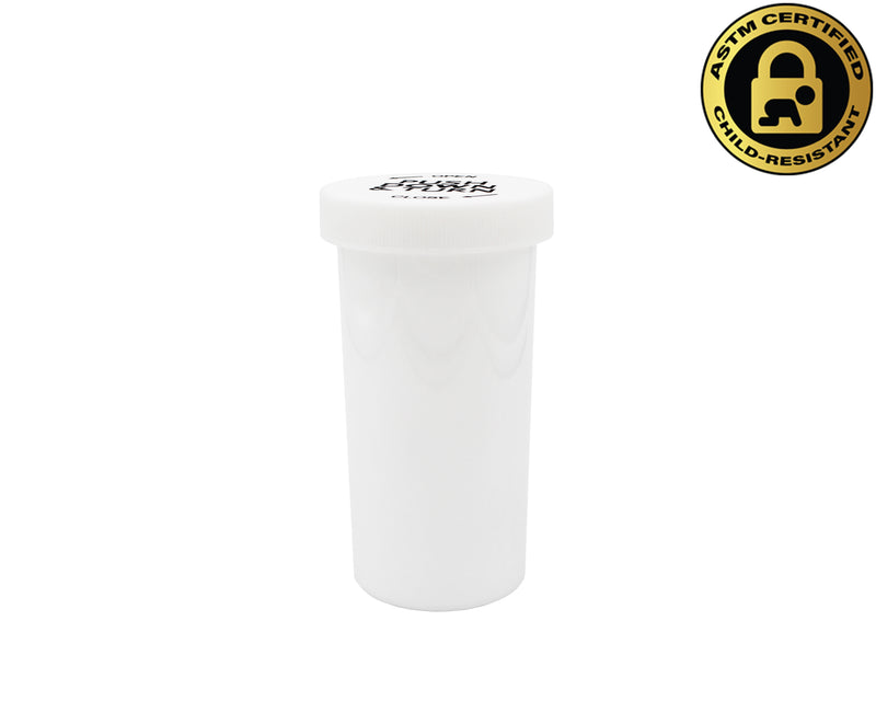 Opaque White 40 Dram Push & Turn Vial with Child-Resistant Cap
