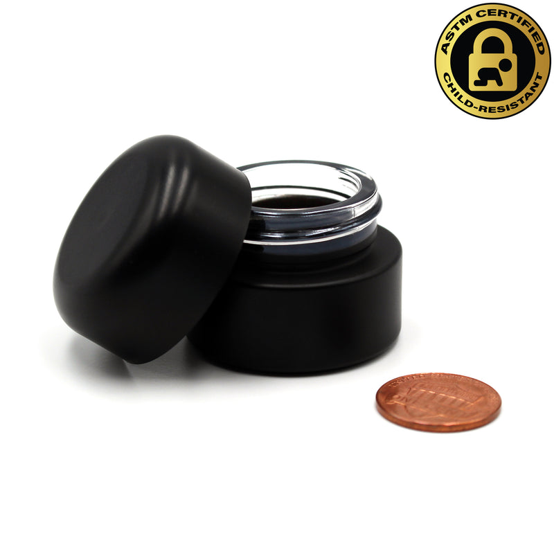 Certified Child-Resistant 5ml Black GriploK Glass Concentrate Jar with Black Dome Lid (Comparison Picture)