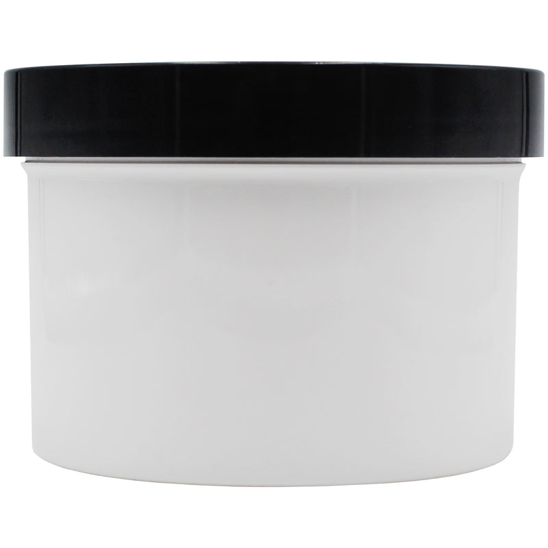 Opaque White 4oz Wide Mouth Plastic Jars for Flower with Black Lid