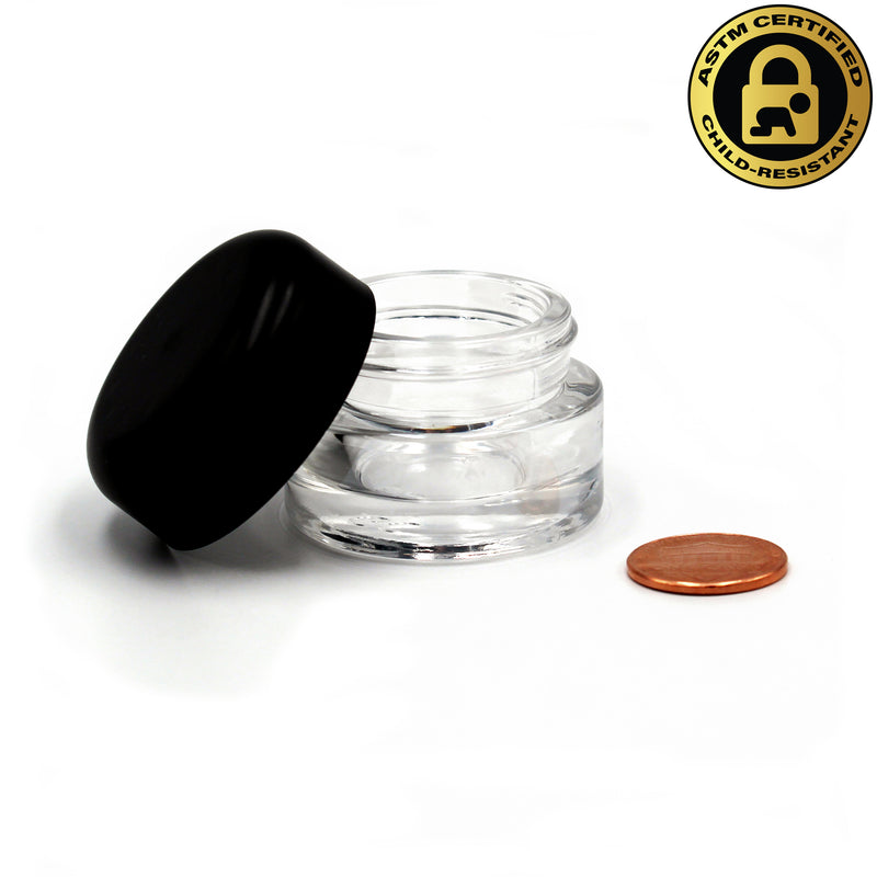Certified Child-Resistant 9ml Flint (Clear) GriploK Glass Concentrate Jar with Black Dome Lid (Comparison Picture)