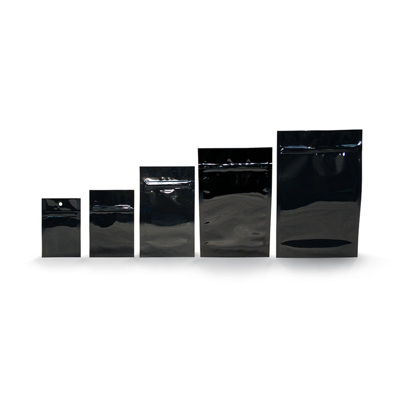 Black Opaque Mylar/High-Barrier Dispensary Bags (Sizes: 1g-1oz)