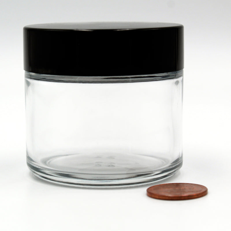 2oz (53/400 Finish) Flint/Clear Wide-Mouth Glass Jar with Black Lid (Comparison Picture)
