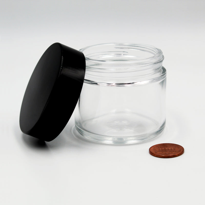 2oz (53/400 Finish) Flint/Clear Wide-Mouth Glass Jar with Black Lid on Side (Comparison Picture)
