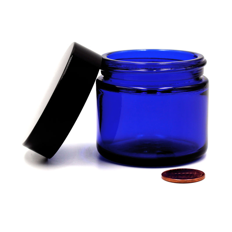 2oz (53/400 Finish) Opaque Cobalt Wide-Mouth Glass Jar with Black Lid (Comparison Picture)