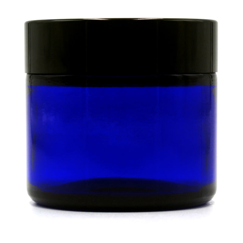 2oz (53/400 Finish) Opaque Cobalt Wide-Mouth Glass Jar with Black Lid