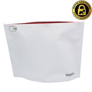 "12""x9""x4"" Opaque White/Red Child-Resistant GriploK Exit Bag"