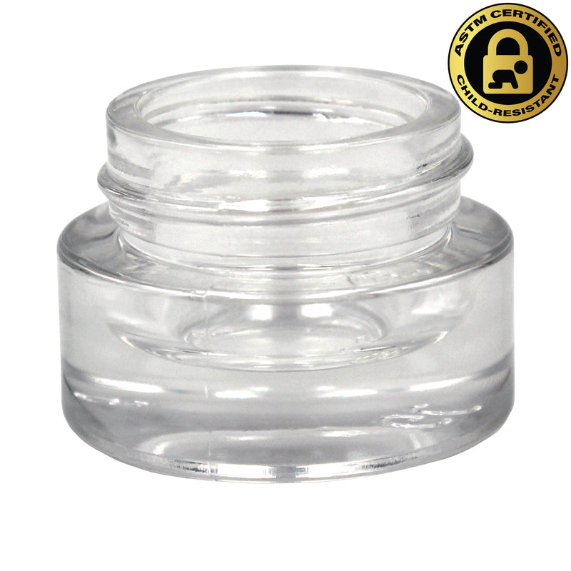 Certified Child-Resistant 5ml Flint (Clear) GriploK Glass Concentrate Jar