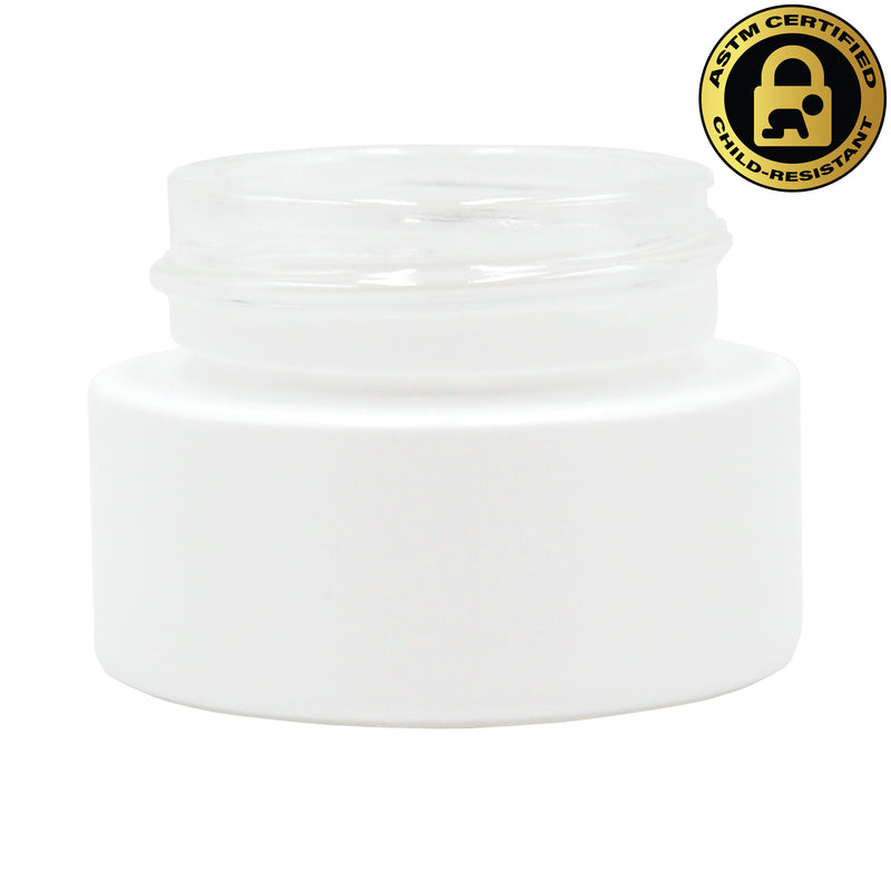 Certified Child-Resistant 5ml Opaque White GriploK Glass Concentrate Jar