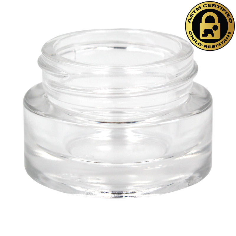 Certified Child-Resistant 9ml Flint (Clear) GriploK Glass Concentrate Jar