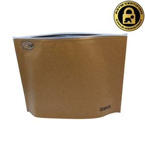 "12""x9""x4"" Opaque Kraft Child-Resistant GriploK Exit Bag"
