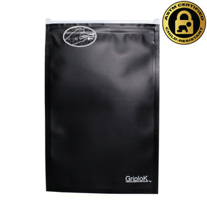 Medium 4x6 Inch GriploK Certified Child-Resistant Exit Bags in Black/Black for Cannabis Dispensaries