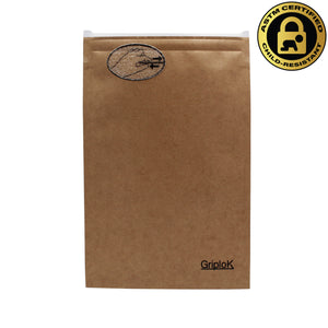 Medium 4x6 Inch GriploK Certified Child-Resistant Exit Bags in Kraft for Cannabis Dispensaries