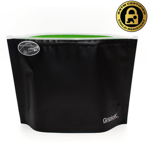 Large 8x6 Inch GriploK Certified Child-Resistant Exit Bags in Black/Lime for Cannabis Dispensaries