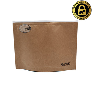 Large 8x6 Inch GriploK Certified Child-Resistant Exit Bags in Kraft for Cannabis Dispensaries