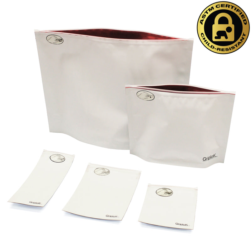 Opaque White/Red Child-Resistant GriploK Exit Bag Collection
