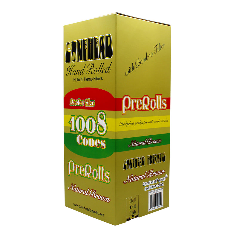 ConeHead Natural Brown Reefer Size Hand Rolled Premium Hemp Cones with Bamboo Filters