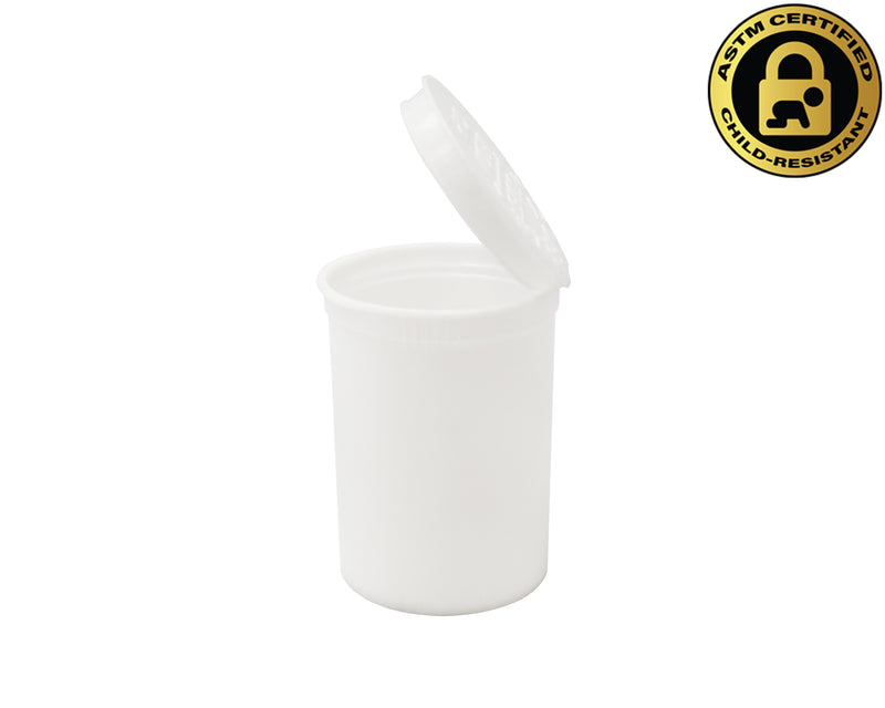 Opaque White 30 Dram GriploK Child-Resistant Pop Top Bottle