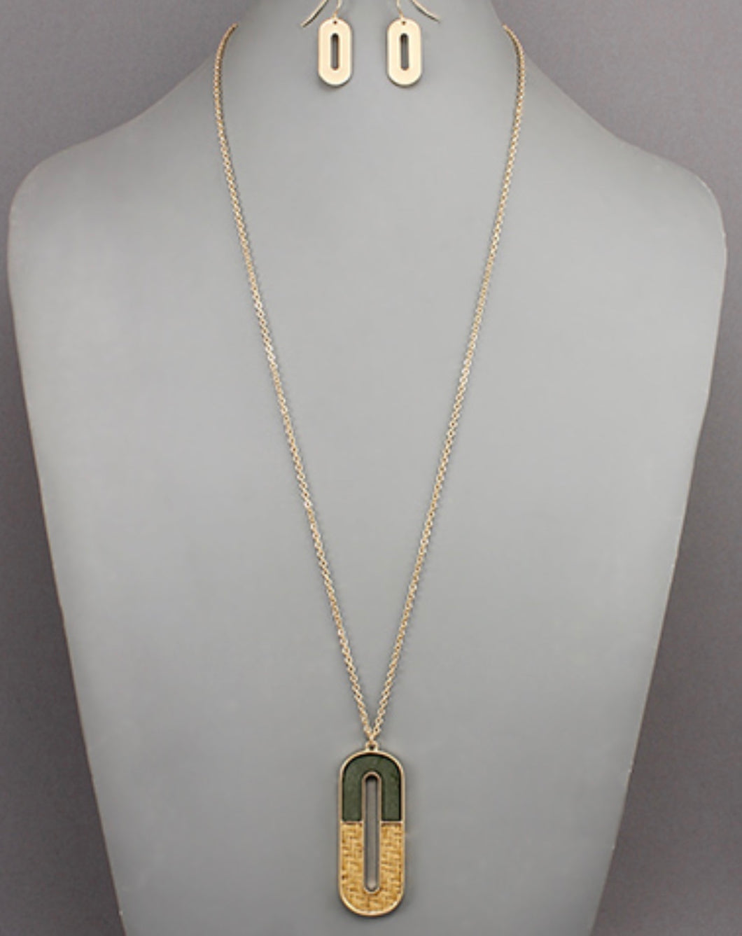 Olive & Wood Oval Necklace