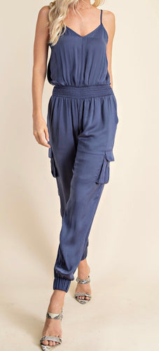 Indigo Satin Jumpsuit