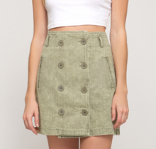 Load image into Gallery viewer, Olive Double Button Skirt