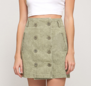 Olive Double Button Skirt