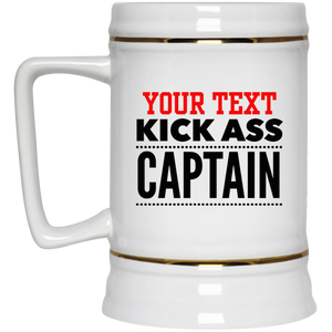 Personalized-KickAss Captain Beer Stein 22 oz.