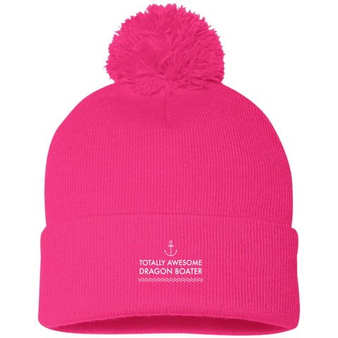 Totally Awesome Dragon Boater Sportsman Pom Pom Knit Cap