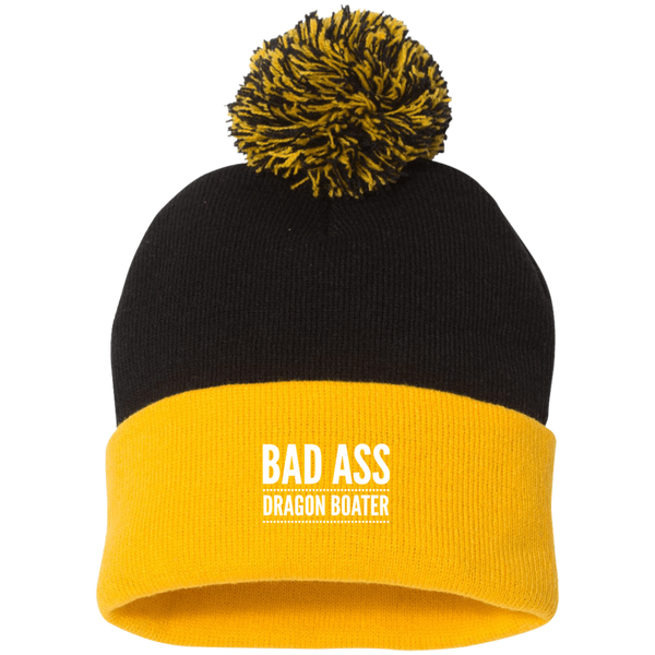 BadAss Dragon Boater  Sportsman Pom Pom Knit Cap