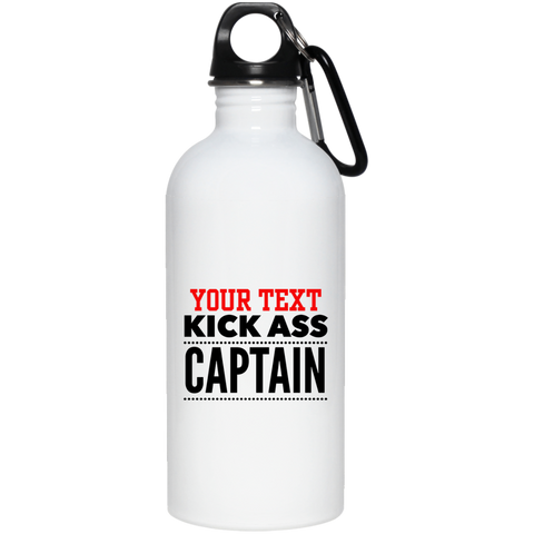 Personalized-KickAss Captain 20 oz. Stainless Steel Water Bottle