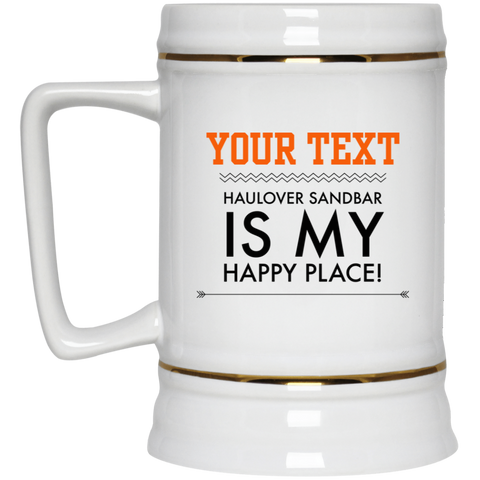 Personalized-Haulover Sandbar Happy Place Beer Stein 22 oz.