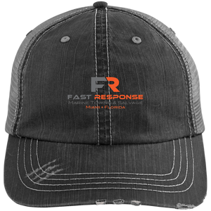 6990 Distressed Unstructured Trucker Cap - Fast Response Marine