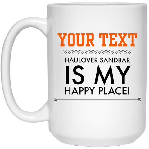 Personalized-Haulover Sandbar Happy Place 15 oz. White Mug