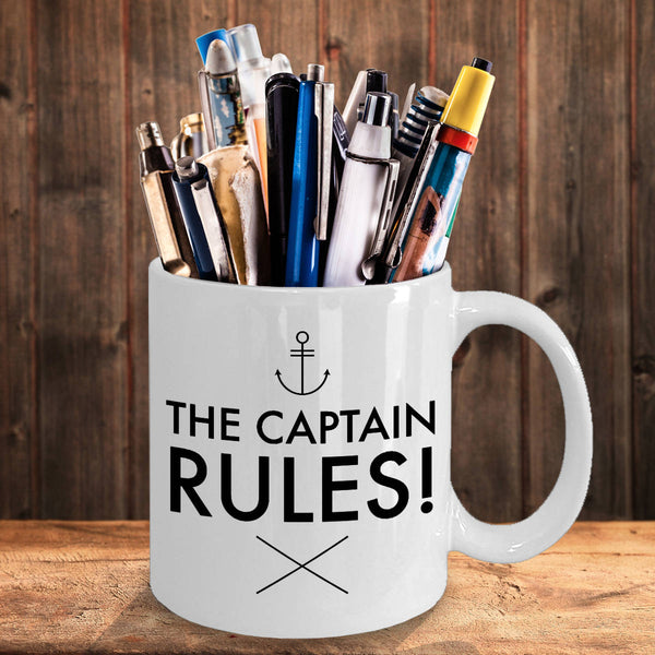 Funny Boating Gifts The Captain Rules Coffee Mug Ceramic