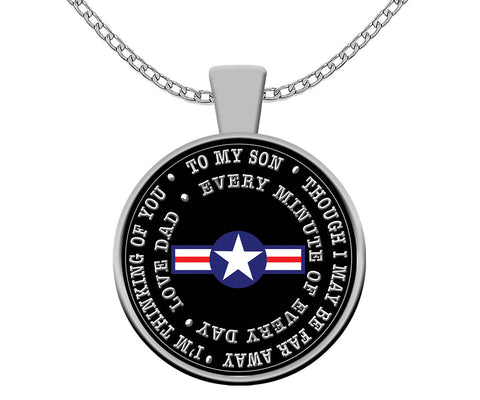 Air Force Dad to Son Deployment Gift Air Force Silver Pendant Necklace