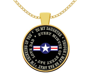 Air Force Dad Deployment Gift for Daughter Gold Pendant Necklace