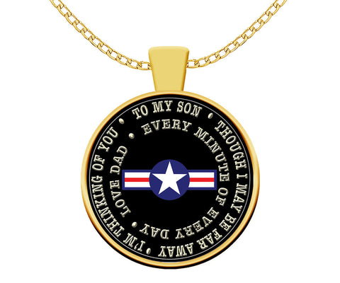 Air Force Dad to Son Deployment Gifts Going Away Patriotic Gold Pendant Necklace