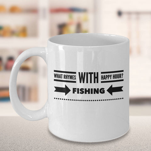 Gift for Fisherman Happy Hour Coffee Mug