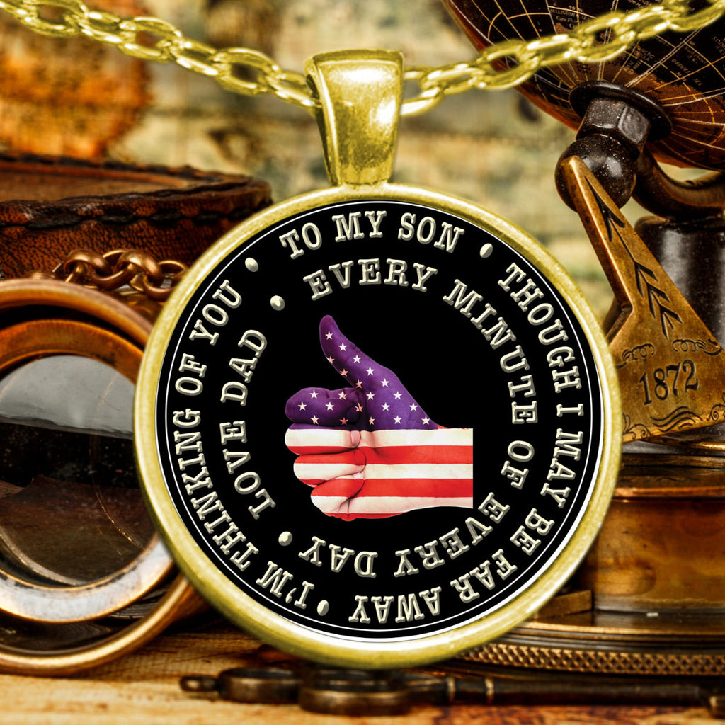 ... Military Dad to Son Deployment Gifts Patriotic Pendant Necklace ...