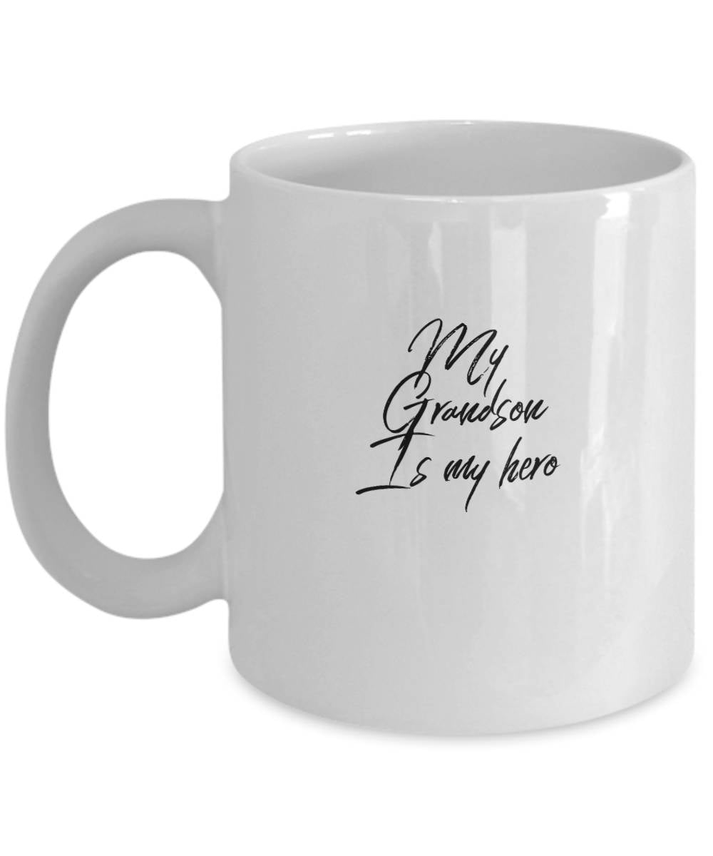 Gift for Grandmother  My Grandson is My Hero  Coffee Mug  Ceramic