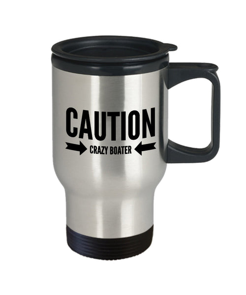 Boating Gift Caution Crazy Boater Travel Mug Stainless Steel