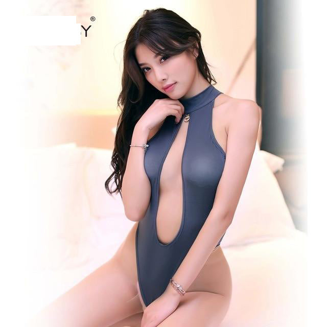 White Gray Pink Black Purple Sexy lingerie hot teddies bodysuit women  underwear open cup nightwear