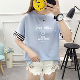 Women's T-shirt Summer Cuff patchwork Cotton T-shirt Letter Print Loose T-Shirt Summer Female Top