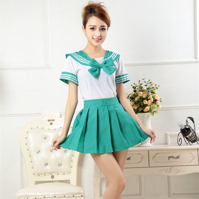 Japanese Style Student Girls School Uniform Sailor Shirt+pleated Skirt Set Woman Cosplay Costumes Sexy Navy JK Suit
