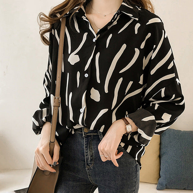 Fashion Women's tops and Blouses Plus Size 3XL 4XL Striped Long Sleeve Shirt Women Blouses shirt Clothing