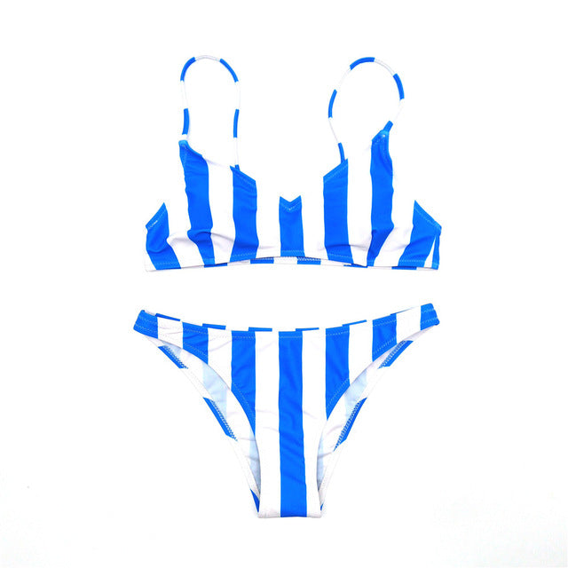 Melphieer Girls Sexy Striped Bikini Push Up Bikinis Set Swimsuit Brazilian Swimwear Women Vintage Bathing Suit