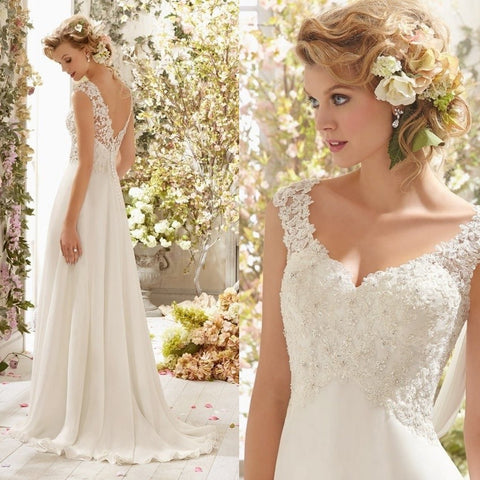 New Romantic Summer Bridal Dress Fluid feel Chiffon Sleeveless Lace Deep V-Neck Adjustable Plus Size Wedding Dress
