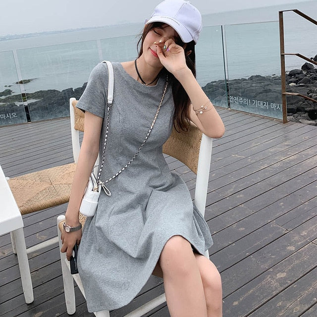 MISHOW Solid Short Sleeve Slim T-shirt Dress O-Neck Mini Bodycon Dress Elegant Casual Streetwear Summer Ladies Dress