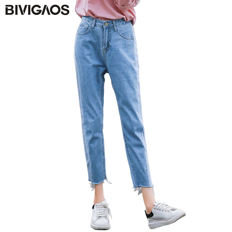 BIVIGAOS Free shipping Spring Autumn Womens Cropped Jeans Korean Side Stitching Washed Denim Straight Pants Boyfriend Jeans For Women